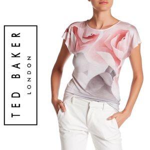 TED BAKER Domika Allover Rose Print Crewneck Tee
